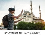 a traveler with virtual reality ... | Shutterstock . vector #674832394