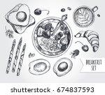 breakfast set. muesli with... | Shutterstock .eps vector #674837593