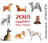Stock vector  happy new year greeting card celebration white background with dogs and place for your text 674837878