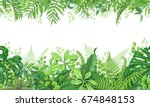 hand drawn branches and leaves... | Shutterstock .eps vector #674848153