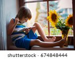 cute little toddler child ... | Shutterstock . vector #674848444