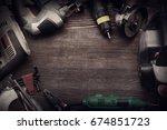 electric hand tools ... | Shutterstock . vector #674851723