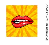 sexy female lips. sign for... | Shutterstock .eps vector #674851930