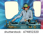 dj boy party mix music. pop art ... | Shutterstock . vector #674852320