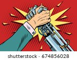 man vs robot arm wrestling... | Shutterstock . vector #674856028