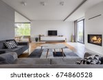 gray and white  family living... | Shutterstock . vector #674860528