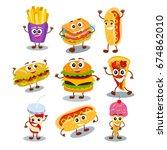 funny  cute fast food hamburger ...   Shutterstock .eps vector #674862010
