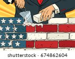 politician to build a wall on... | Shutterstock . vector #674862604