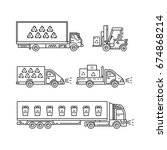 vector linear trucks with... | Shutterstock .eps vector #674868214