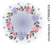 vector flowers beautiful wreath.... | Shutterstock .eps vector #674868616
