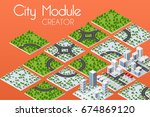 city module creator isometric... | Shutterstock .eps vector #674869120