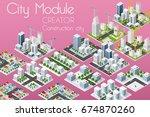 city module creator isometric... | Shutterstock .eps vector #674870260