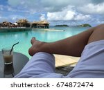 relaxing on beach. relaxation... | Shutterstock . vector #674872474