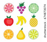 vector colorful fruits on white ... | Shutterstock .eps vector #674873074