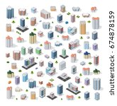 set of modern isometric... | Shutterstock .eps vector #674878159
