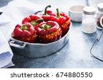 stuffing peppers casserole red...   Shutterstock . vector #674880550