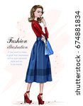 beautiful stylish woman in... | Shutterstock .eps vector #674881834