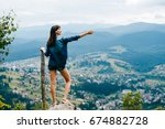 lonely beautiful girl with long ... | Shutterstock . vector #674882728