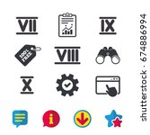roman numeral icons. 7  8  9...