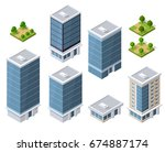 set of modern isometric... | Shutterstock .eps vector #674887174