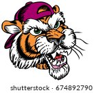Mascot Tiger head, proud and tough, which gives tribute to traditional school mascots but with a new look and attitude. Suitable for all sports. - stock vector