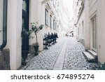 city street  white walls and... | Shutterstock . vector #674895274