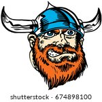 Mascot Viking head, proud and tough, which gives tribute to traditional school mascots but with a new look and attitude. Suitable for all sports. - stock vector