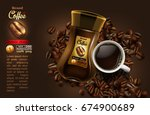 coffee advertising design with... | Shutterstock .eps vector #674900689