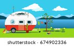 cartoon traveling scene with a... | Shutterstock .eps vector #674902336