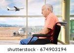 patient senior on a wheelchair... | Shutterstock . vector #674903194