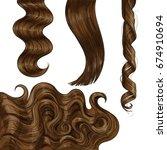 set of shiny long brown  fair... | Shutterstock .eps vector #674910694
