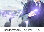 businessman hand touching... | Shutterstock . vector #674912116
