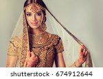 portrait of beautiful indian... | Shutterstock . vector #674912644