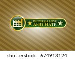 golden badge with factory icon ... | Shutterstock .eps vector #674913124
