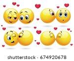 cute smiley emoji feeling in... | Shutterstock .eps vector #674920678