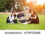 group of high school students... | Shutterstock . vector #674925688
