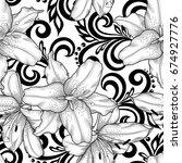 black and white seamless... | Shutterstock . vector #674927776