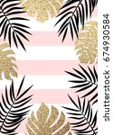 gold and black tropical palm... | Shutterstock .eps vector #674930584