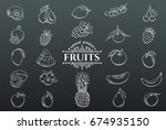 vector hand drawn fruits icons... | Shutterstock .eps vector #674935150