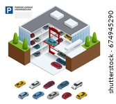underground parking with cars.... | Shutterstock .eps vector #674945290