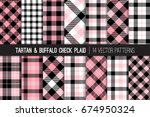 pink  black and white tartan... | Shutterstock .eps vector #674950324