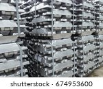 stack of raw aluminium ingots... | Shutterstock . vector #674953600
