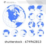 globes showing earth with all... | Shutterstock .eps vector #674962813