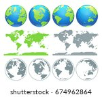 globes showing earth with all... | Shutterstock .eps vector #674962864