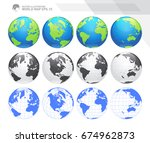 globes showing earth with all...   Shutterstock .eps vector #674962873