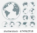 globes showing earth with all... | Shutterstock .eps vector #674962918