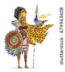 aztec american native warrior | Shutterstock .eps vector #674963608