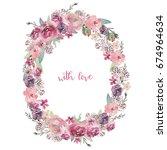 watercolor floral illustration  ... | Shutterstock . vector #674964634