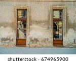 vintage old building facade... | Shutterstock . vector #674965900