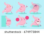 cute cartoon stomach on the... | Shutterstock .eps vector #674973844
